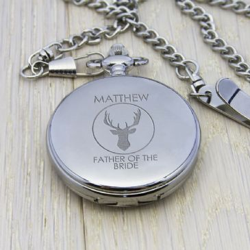 Personalised Groomsman Stag Pocket Watch - Silver